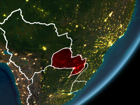 Paraguay as seen from Earth's orbit on planet Earth at night highlighted in red with visible borders and city lights. 3D illustration. Stock Photo