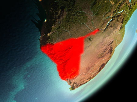 Namibia in the morning highlighted in red on planet Earth. 3D illustration.
