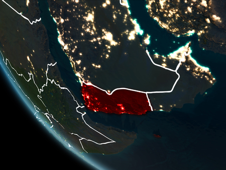 Satellite view of Yemen highlighted in red on planet Earth at night with borderlines and city lights. 3D illustration.