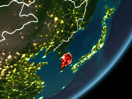 North korea as seen from earths orbit on planet earth at night south korea as seen from earths orbit on planet earth at night highlighted gumiabroncs