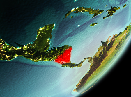 Nicaragua in the morning highlighted in red on planet Earth. 3D illustration.