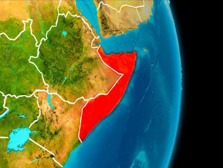 Somalia in red on planet Earth with visible borderlines. 3D illustration.