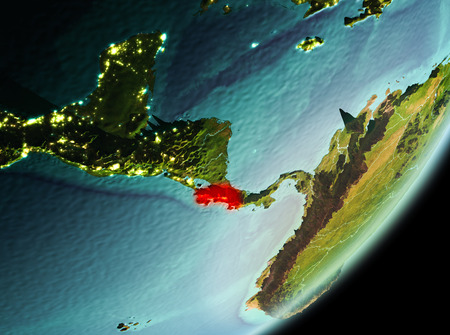 Costa Rica in the morning highlighted in red on planet Earth. 3D illustration.