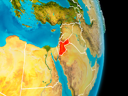 Jordan in red on planet Earth with visible borderlines. 3D illustration.