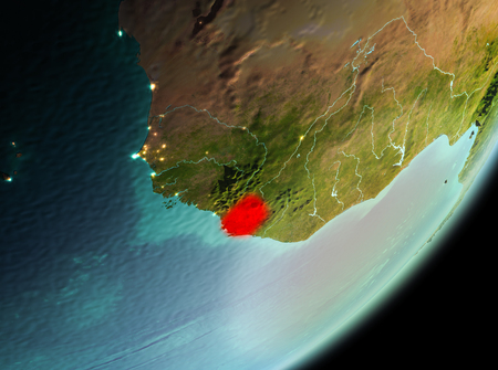 Sierra Leone in the morning highlighted in red on planet Earth. 3D illustration.