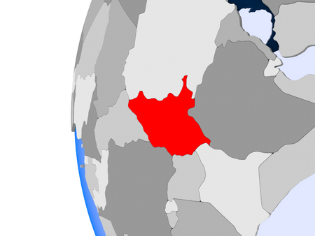 South Sudan in red on political globe with transparent oceans. 3D illustration. Stock Photo