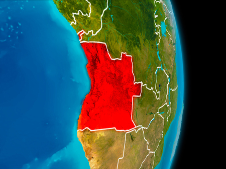Angola in red on planet Earth with visible borderlines. 3D illustration.