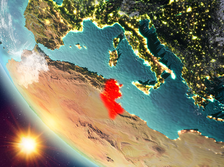 Tunisia during sunset highlighted in red on planet Earth with clouds. 3D illustration. Stock Photo