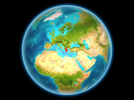 Greece in red on planet Earth as seen from space on full sphere. 3D illustration.