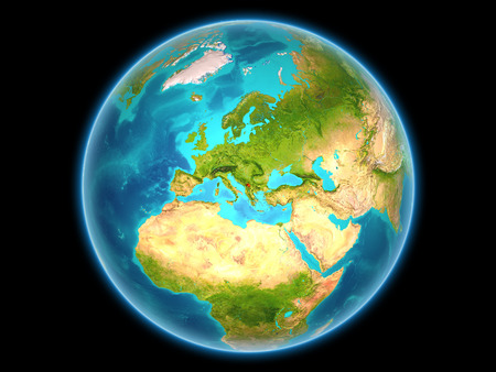Kosovo in red on planet Earth as seen from space on full sphere. 3D illustration. Stock Photo