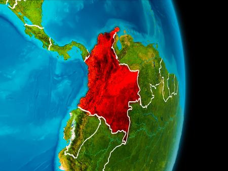 Colombia in red on planet Earth with visible borderlines. 3D illustration.