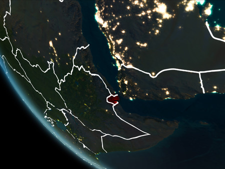 Satellite view of Djibouti highlighted in red on planet Earth at night with borderlines and city lights. 3D illustration.