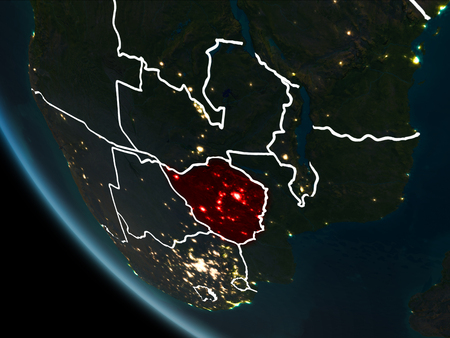 Satellite view of Zimbabwe highlighted in red on planet Earth at night with borderlines and city lights. 3D illustration. Stock Photo