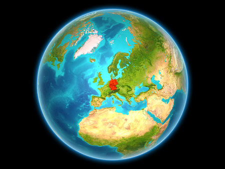 Germany in red on planet Earth as seen from space on full sphere. 3D illustration.