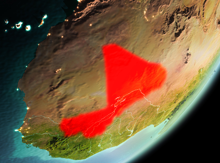 Mali in the morning highlighted in red on planet Earth. 3D illustration. Stock Photo