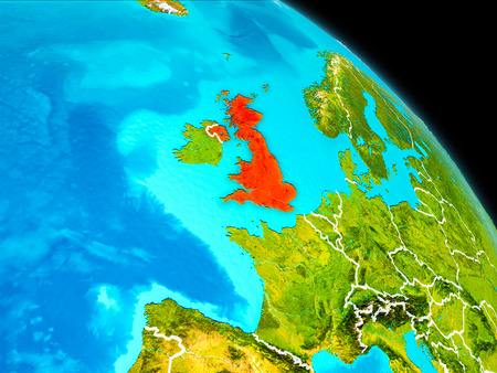 Space orbit view of United Kingdom highlighted in red on planet Earth with visible borders. 3D illustration. Stock Photo