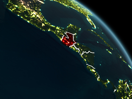 Guatemala from orbit of planet Earth at night with visible borderlines and city lights. 3D illustration.