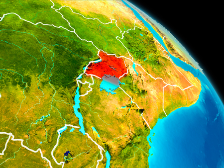 Space orbit view of Uganda highlighted in red on planet Earth with visible borders. 3D illustration. Stok Fotoğraf - 95905679