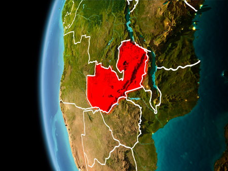 Evening over Zambia as seen from space on planet Earth with visible border lines and city lights. 3D illustration.