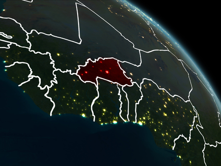 Burkina Faso from orbit of planet Earth at night with visible borderlines and city lights. 3D illustration.  .