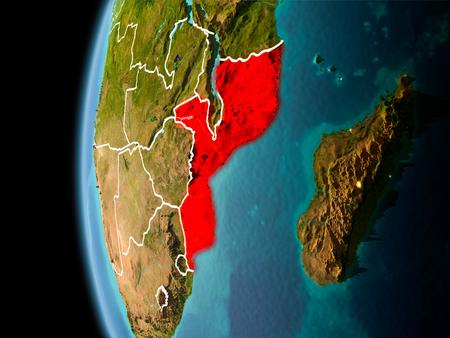 Abend über Mosambik von der Weltraum auf dem Planeten Erde mit sichtbaren weißen Punkten und Stromleitungen . 3D-Darstellung Standard-Bild - 95905301