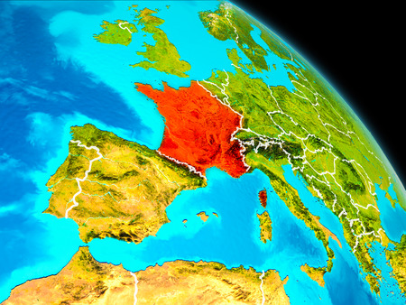 Space orbit view of France highlighted in red on planet Earth with visible borders. 3D illustration.
