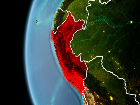 Evening over Peru as seen from space on planet Earth with visible border lines and city lights. 3D illustration. Stock Photo