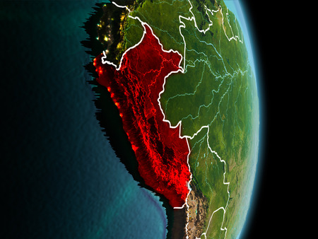 Satellite morning view of Peru highlighted in red on planet Earth with visible border lines and city lights. 3D illustration.