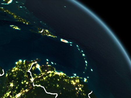 Puerto Rico from orbit of planet Earth at night with visible borderlines and city lights. 3D illustration.