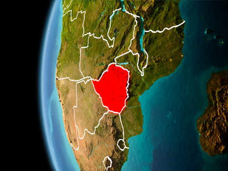 Evening over Zimbabwe as seen from space on planet Earth with visible border lines and city lights. 3D illustration.