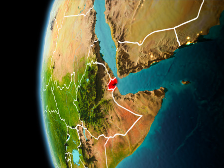 Evening over Djibouti as seen from space on planet Earth with visible border lines and city lights. 3D illustration. Stock Photo