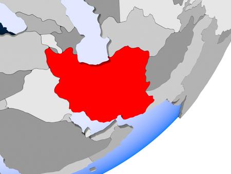 3D render of Iran on political globe with transparent oceans. 3D illustration.
