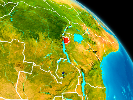 Space orbit view of Burundi highlighted in red on planet Earth with visible borders. 3D illustration.