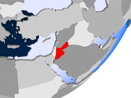 3D render of Jordan on political globe with transparent oceans. 3D illustration. Stockfoto