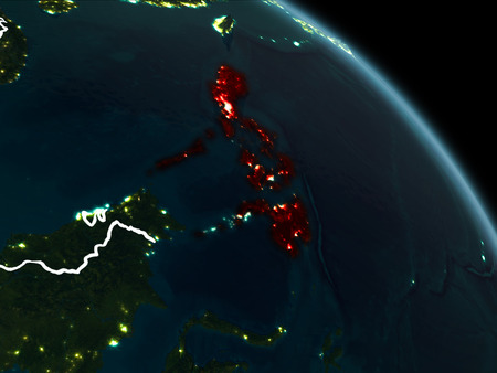 Philippines from orbit of planet Earth at night with visible borderlines and city lights. 3D illustration. Stock Photo