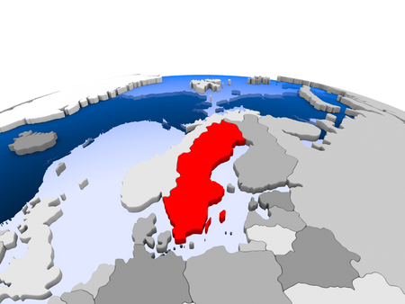 Finland highlighted in red on political globe with transparent oceans. 3D illustration.