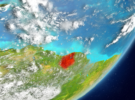 Satellite view of Suriname highlighted in red on planet Earth with clouds. 3D illustration.
