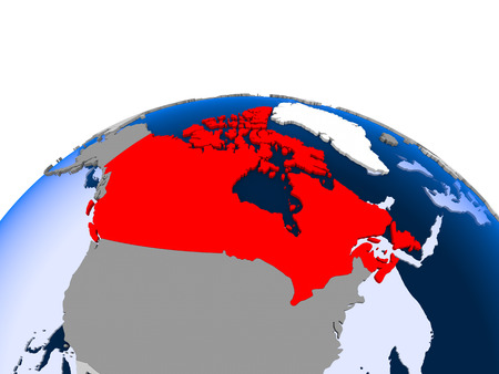 USA highlighted in red on political globe with transparent oceans. 3D illustration.