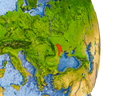 Moldova in red on model of globe with embossed countries and realistic water. 3D illustration.