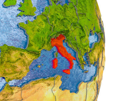 Italy in red on model of globe with embossed countries and realistic water. 3D illustration.