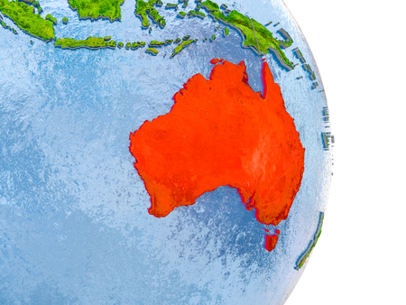 Australia in red on model of globe with embossed countries and realistic water. 3D illustration.