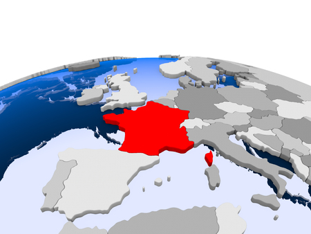 France highlighted in red on political globe with transparent oceans. 3D illustration.