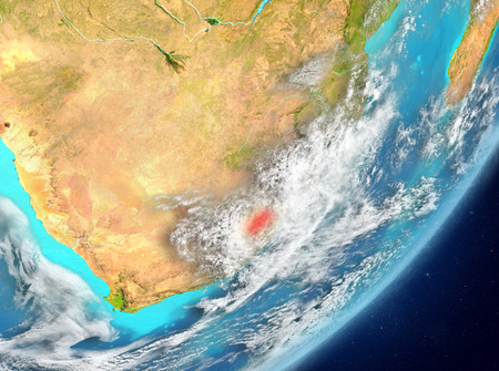 Satellite view of Lesotho highlighted in red on planet Earth with clouds. 3D illustration. Stock Photo