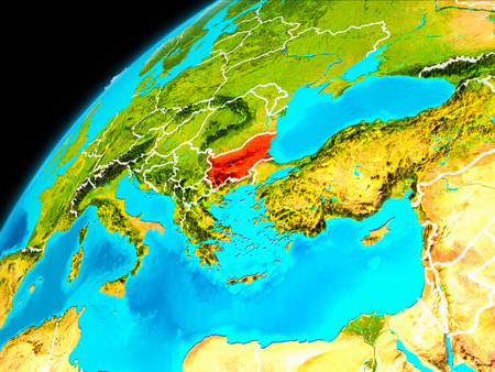 Orbit view of Bulgaria highlighted in red with visible borderlines on planet Earth. 3D illustration.