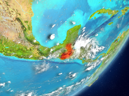 Satellite view of Guatemala highlighted in red on planet Earth with clouds. 3D illustration.