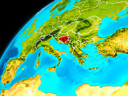 Orbit view of Bosnia and Herzegovina highlighted in red with visible borderlines on planet Earth. 3D illustration.