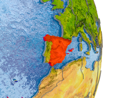 Spain in red on model of globe with embossed countries and realistic water. 3D illustration.