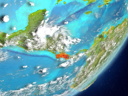 Satellite view of Costa Rica highlighted in red on planet Earth with clouds. 3D illustration. Stock Photo