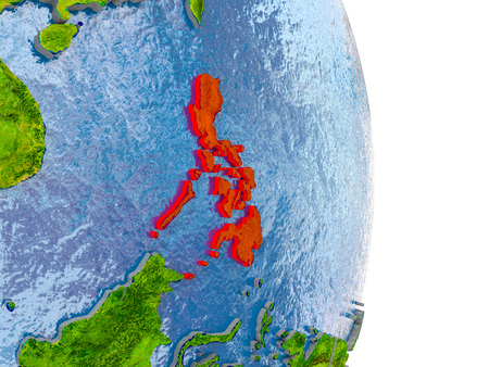 Philippines in red on model of globe with embossed countries and realistic water. 3D illustration.