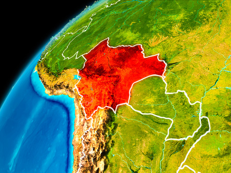 Orbit view of Bolivia highlighted in red with visible borderlines on planet Earth. 3D illustration.